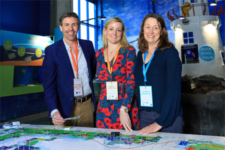 Liam Carr, Coordinator for MSc in Coastal and Marine Environments NUI Galway; Niamh Santry Administrative Officer Marine Spatial Planning at Dept of Housing, Planning and Local Government; Caitriona Nic Aonghusa, Marine Institute at the Marine Spatial Planning Challenge Board Game in Galway Atlantaquaria. Photo: Andrew Downes, Xposure.