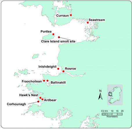 Map showing location of fish farms in the Mayo and north Connemara