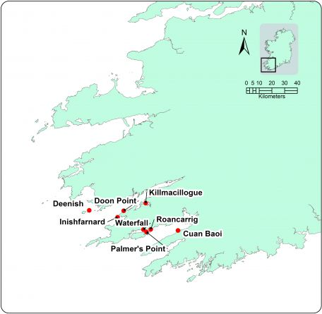 Map showing location of fish farms in Southwest Ireland