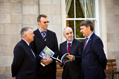 Professor Gerry Boyle Director of Teagasc, with Dr Eoin Grealis of SEMRU (NUIG), Prof Cathal O'Donoghue of Teagasc and Dr Peter Heffernan, CEO of the Marine Institute, at the launch of a new report on the Economic Impact of the Irish Bio-Economy. The report highlighted the major job potential in the Irish Bio-Economy. Photo: John T Ohle Photography.