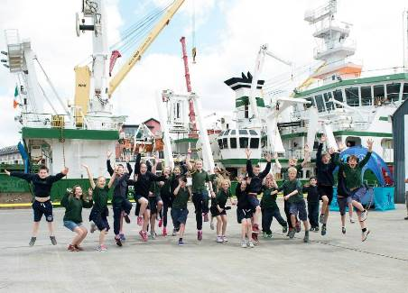 As part of the SEA FOR SOCIETY ocean awareness initiative pupils from Glenageary Killiney National School, Dublin visited the Marine Institute's RV Celtic Explorer in Galway. Photo:Andrew Downes:XPOSURE — with @explore.