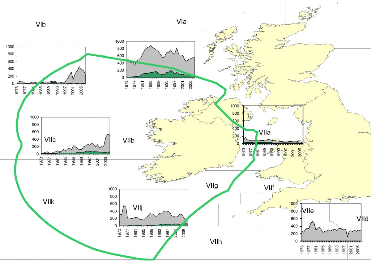 Distribution of landings by ICES areas around Ireland
