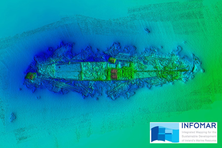 The 1903 shipwreck SS Manchester Merchant located in Dingle Bay, Co. Kerry surveyed in 2019 by INFOMAR's RV Keary.