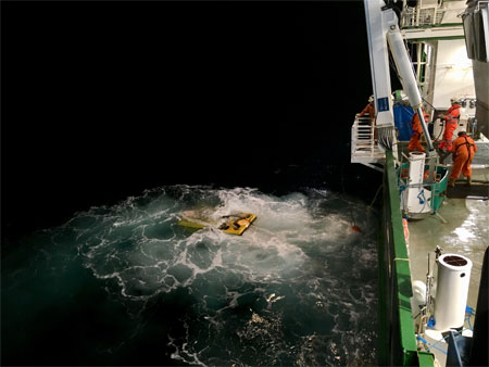 Recovery of the ROV Holland 1 during the cold-water coral survey on the Marine Institute's RV Celtic Explorer. Photo: Kennedy Browne.
