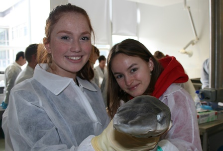 Keelin Molloy, Galway and Lola Sweeny, Dublin attend the Marine Institute's fourth Transition Year training week at the Marine Institute in Galway, where they are getting hands on experience in marine science, research, engineering and technology. Photograph Cushla Dromgool-Regan, Marine Institute.