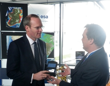 European Space Agency's Gordon Campbell presenting a Sentinel 1 memento to Minister Minister for Agriculture, Marine and Food, Simon Coveney TD