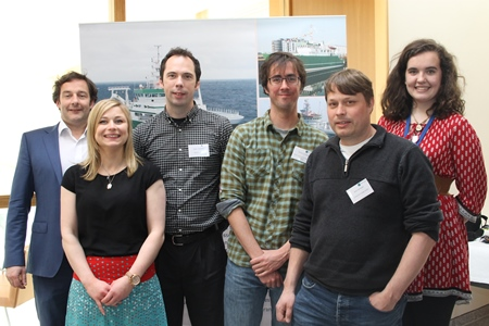 Speakers at the Research Vessel Users Conference included (L-R) Mr Aodhan Fitzgerald, Manager, Research Vessels Operations, Marine Institute; Rosemarie Butler, Research Vessel Operations, Marine Institute; Kevin Sheehan, Advanced Mapping Services, Marine Institute; Dr Florian Le Pape, Dublin Institute for Advanced Studies; Dr Jens Carlsson, UCD and Mekayla Dale, Advanced Mapping Services / Ulster University.