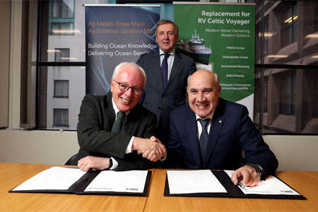 A contract was signed today (18 December 2019) between the Marine Institute and Spanish shipyard Astilleros Armon Vigo S.A. for the construction of Ireland's new state of the art marine research vessel, following the completion of the design of the vessel by Skipsteknisk AS of Norway. This is a significant milestone with the build process contracted to complete in 2022. Pictured at the contract signing were Dr. Paul Connolly CEO Marine Institute, Minister Michael Creed TD, Department of Agriculture Food and the Marine and Laudelino Alperi Baragaño, Executive Shareholder, Astilleros Armon Vigo S.A. Picture Jason Clarke