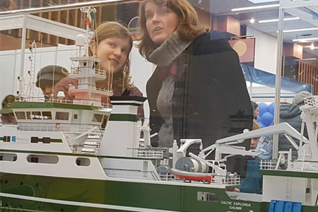 Visitors to Galway Science Festival at the Marine Institute exhibition stand.