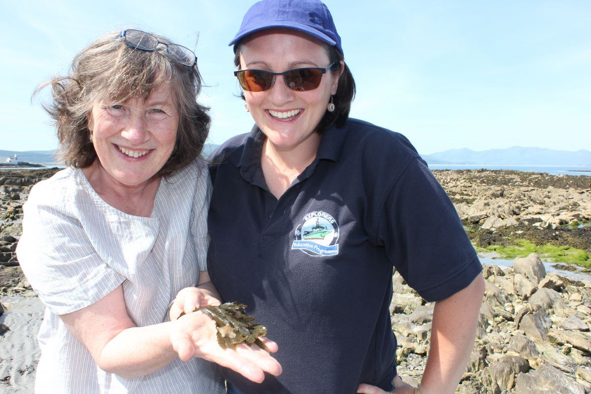Primary school teacher, Maggie Kinsella from St Ita and St Josephs, Tralee pictured with Eleanor Turner, Sea Synergy Marine Awareness Centre, was among a group of up to 20 school teachers learning about animals on the seashore during the new DES summer course held by the Explorers Education Programme in Tralee.  Up to twenty teachers took part in the Explorers Education Programme teacher's training held at the beginning on July (1st -5th), where they spent a week on the seashore and at Spa National School exploring rockpools, taking part in seashore games and creating art on the beach. Learning how to introduce marine themes onto the primary school curriculum, the DES approved course was organised by Tralee Education Centre the and held at Spa National School.  The Explorers Education Programme course was facilitated by the Explorers team Eleanor Turner and Rebecca White Murphy from Sea Synergy Marine Awareness Centre.  The Explorers Education Programme is funded by the Marine Institute and managed by Camden Education Trust. Photograph Cushla Dromgool-Regan, Camden Education Trust.