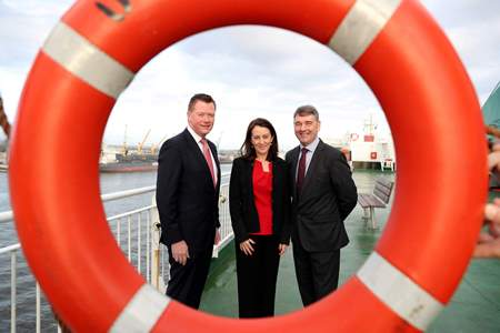 Pictured on board Irish Ferries 'Ulysses' at Dublin Port launching 'Our Ocean Wealth Summit' are l-r Declan McDonald, Advisory Partner, PwC; Yvonne Thompson, Tax Partner, PwC and Dr. Peter Heffernan, Chief Executive, Marine Institute.  The conference is part of the 2017 SeaFest , hosted by the Marine Institute and forms a key part of the Government's integrated plan for Ireland's marine sector, Harnessing our Ocean Wealth.  The Summit is themed 'Rethinking Boundaries and Innovation for a Sustainable Marine Economy' and will take place on Friday 30 June 2017 in the National University of Ireland, Galway and will bring together world renowned speakers, industry experts, business development agencies and the Irish business and marine research community.