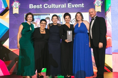 Brian O'Reilly, Managing Director, MCE Events presents the Best Cultural Event award to the Marine Institute team - Lisa Fitzpatrick, Cushla DromgoolRegan, Rachael Brown, Sinead Coyne and Caroline Bocquel