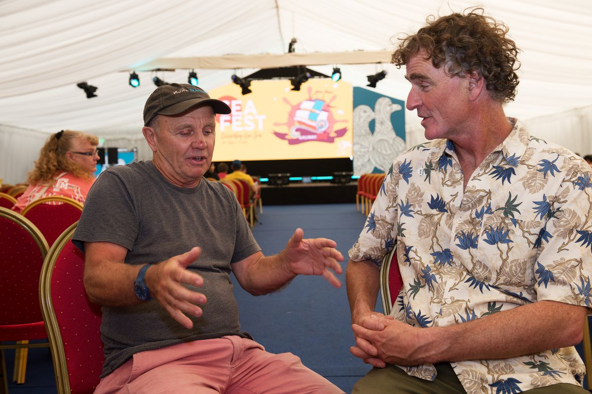Doug Allan and Ken O'Sullivan catching up at SeaFest 2018. Photo Cr Andrew Downes, XPOSURE.