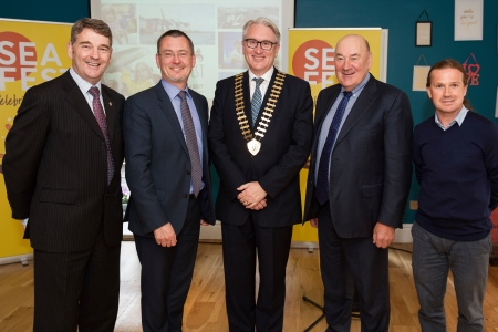 Dr Peter Heffernan CEO Marine Institute, Jim O'Toole BIM Chief Executive, Maurice O'Gorman President Galway Chamber, Dr John Killeen Chair of Marine Institute and Johnny Donnelly Managing Director Arcana gathered in Galway for the SeaFest Information Evening on Wednesday 10 May.