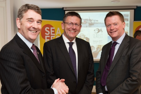 Dr Peter Heffernan CEO Marine Institute, Liam Lacey Director of the Irish Maritime Development and Declan McDonald PwC Advisory Partner at the SeaFest Information Evening.