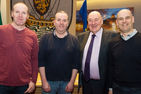 Dr John Killeen Marine institute Chairman with members of The Village Salthill