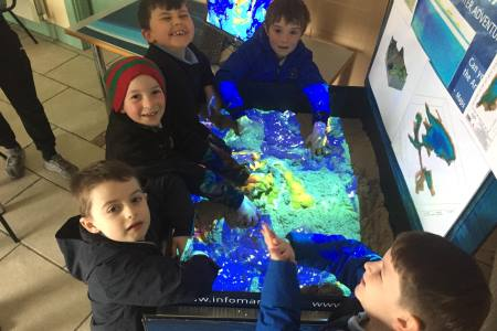 Newport National School enjoying the INFOMAR Augmented Reality Sandbox.