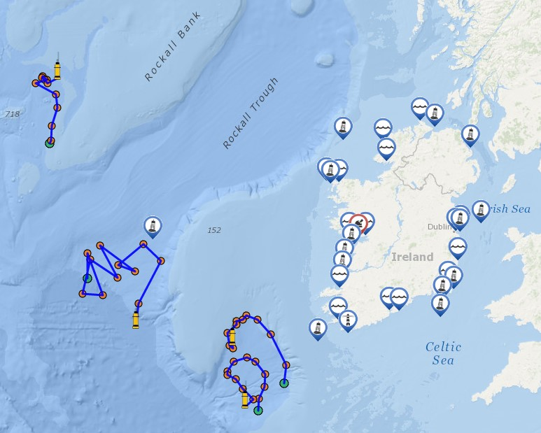 A selection of Irish Argo floats showing their drift pattern over the last 100days.