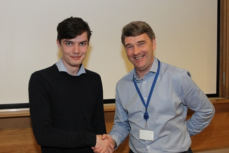 Alan Maher, 2nd place in the individual presentations with Dr Peter Heffernan, CEO Marine Institute