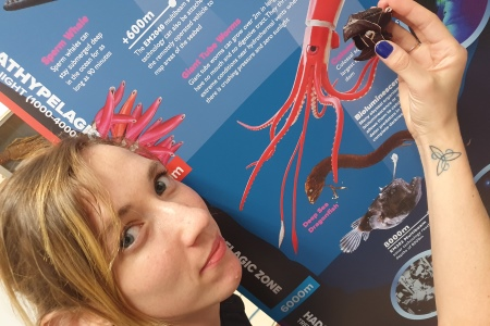 Anna Quinn talks about squids tough beaks in Explorers Learning about Squid films. Image Credit Cushla Dromgool-Regan