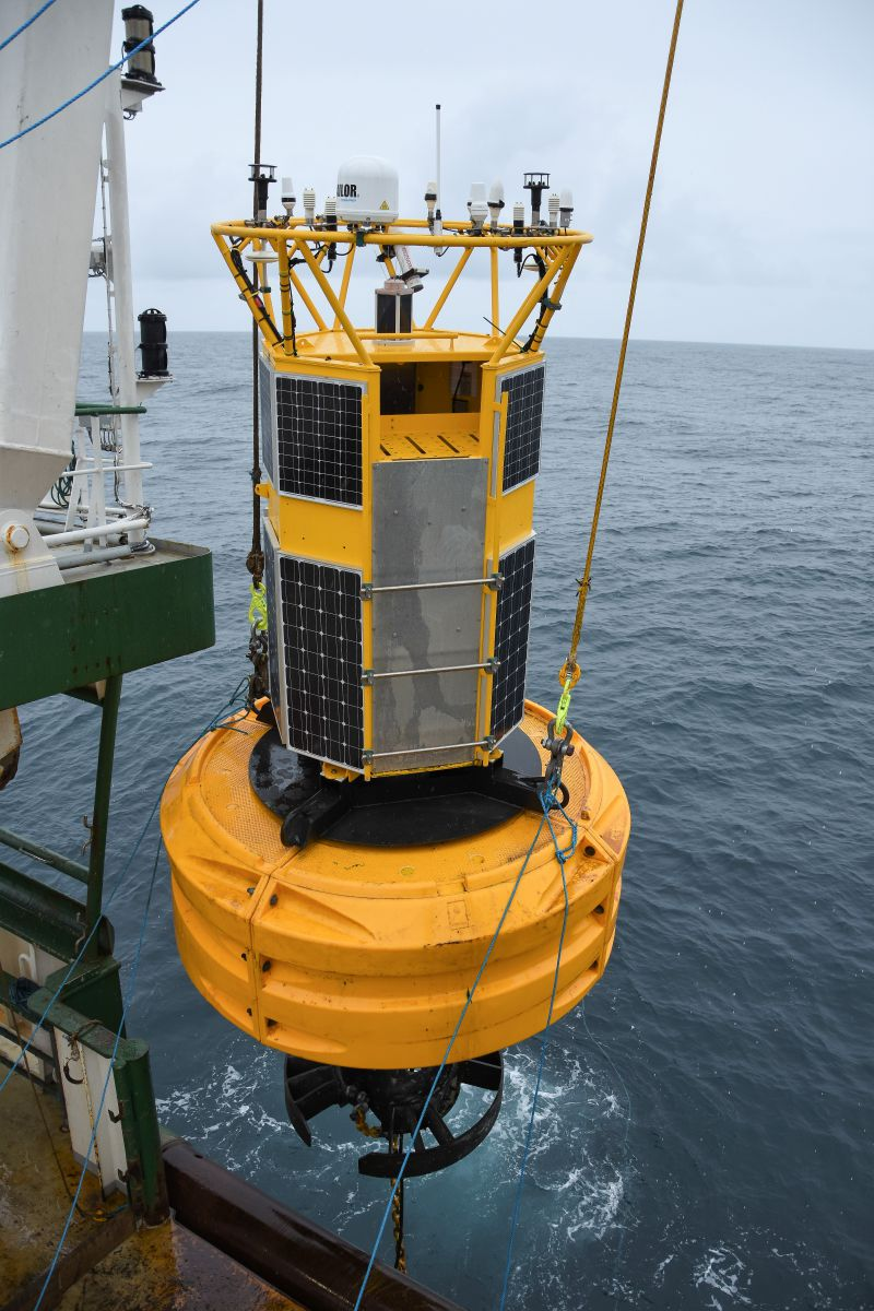 Weather buoy been deployed during the Annual Ocean Climate Survey in 2019. Photo Credit Tomas Szumski, Marine Institute