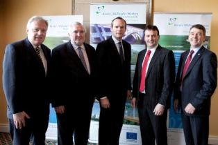 Attending the Atlantic Conference in Malahide were (L-R): Mr. Gerry Finn, Director, BMW Regional Assembly, Mr. Pat Colgan, Chief Executive, Special EU Programmes Body, Mr. Simon Coveney T.D., Minister for Agriculture, Food and the Marine, Councillor Cyril Burke, Chairman, BMW Regional Assembly and Dr. Peter Heffernan, Chief Executive, Marine Institute.