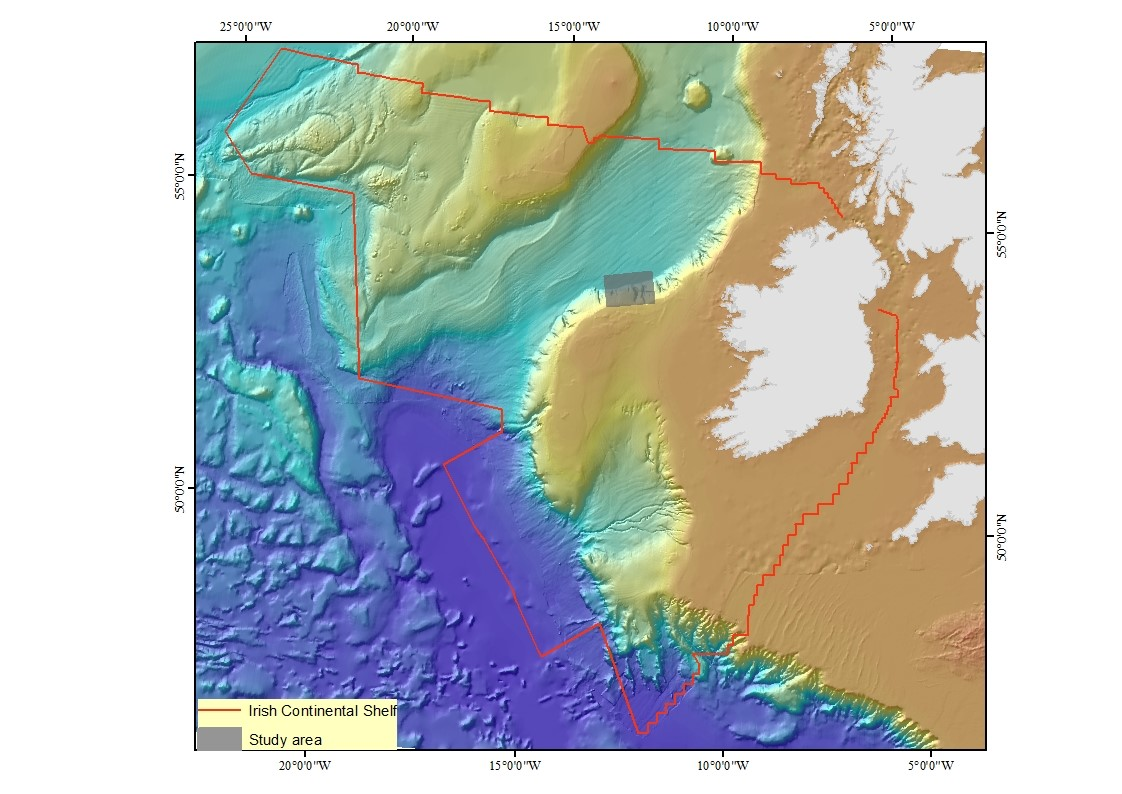 Map of Irelands continental shelf area showing the study area. Map produced by Patricia Breen