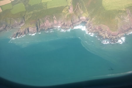 Bloom of Karenia mikimotoi extending along coastline SW Cork taken from Air Corps Casa  Aircraft_Joe Silke Marine Institute