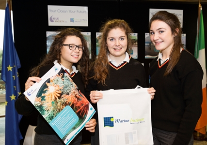 At the Galway Science & Technology Festival and the Sea for Society project, were pupils from Our Lady's Belmullet Shauna Gallagher , Maria Reilly and Ailish Sweeney. Photo:Andrew Downes, xposure.