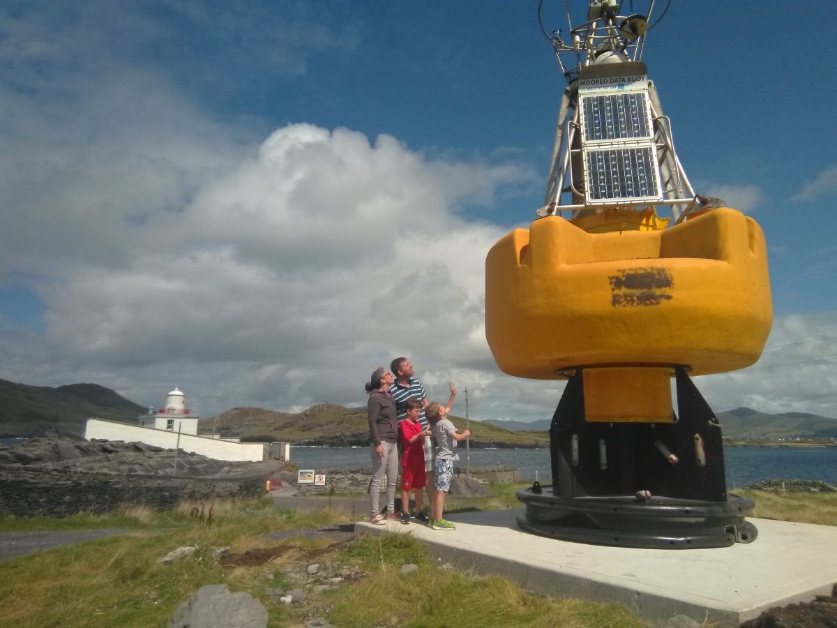 The O'Connell family from Co Kerry check out the new resident, Bob the Buoy, who has recently retired on Valentia Island_photo Wendy Bleming, Valentia Light House.