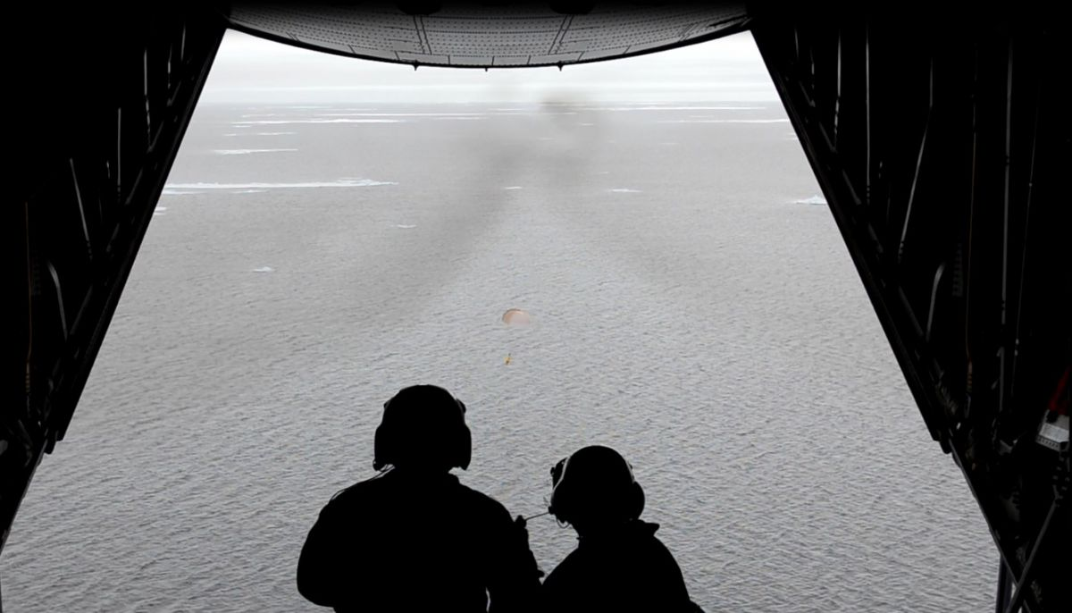 The Airborne Expendable Ice Buoy found on the Connemara beach, being deployed from an US Coast Guard C-130 aircraft in 2012, where it shows the buoy opening its parachute for landing in the Arctic Ocean.