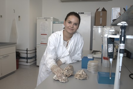 Diana Gudynaite, from Galway, a Food Science and Nutraceuticals student from the Dublin Institute of Technology, is currently on a 10 weeks bursary programme with the Marine Institute where she is gaining hands on experience with oysters sampled for her work in shellfish safety.