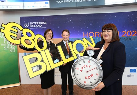 Máire Geoghegan-Quinn, EU Commissioner for Research, Innovation and Science, (right) with Seán Sherlock T.D. Minister for Research & Innovation and Dr. Imelda Lambkin, Director of Ireland's support network for Horizon 2020 at the Irish launch of Horizon 2020. Credit Gary O' Neill, Enterprise Ireland