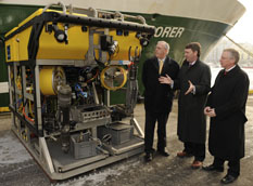 (Picture: Dr Peter Heffernan of the Marine Institute (Centre) demonstrates the ROV Holland 1 to Minister Tony Killeen T.D. and Marine Institute Chairman Mr. Jim Fennell (Right) alongside the research vessell RV Celtic Explorer in Galway Docks earlier this year)