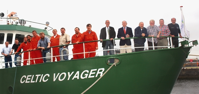 A collage of the RV Celtic Voyager's crew and operations team from 1997 and 2017
