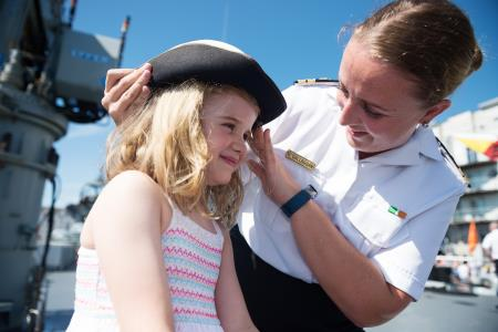 29/06/2018 report free: LT Maria O'Callaghan, Executive Office WB Yeats and Cerys Johnston ,Craughwell 6, at SeaFest, Ireland's national maritime festival, which continues at galway Harbour till Sunday night with loads of Science Ships and excursions for all ages. Photo : Andrew Downes, xposure.