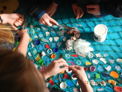 #1 Children from the senior classes at Coore Ns creating 'Bite Sized plastics for the Sea Birds' Photo Credit: Carmel Madigan