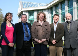 (left to right). Dr Sarah Knight (Outreach Officer-ECI, NUIG), Dr Jürgen Alheit (Leibniz Institute for Baltic Sea Research, Germany), Ms Martina Prendergast (Development Manager-ECI, NUIG), Dr Glenn Nolan (MI- Climate Change Team), Mr Geoffrey O'Sullivan (Marine Institute - International Co-operation).