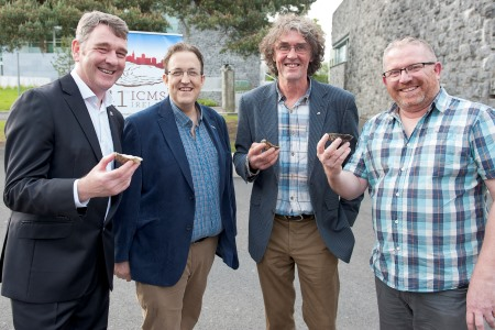 The Marine Institute brings together over 200 international delegates who are attending the 11th International Conference on Molluscan Shellfish Safety conference at NUI,Galway at the event was Dr Peter Heffernan Marine Institute, Richie Flynn FIA Aquaclture, Michael Molloy, Chair Irish Shellfish Asoc. and Joe Silke, Section Manager of Shellfish Safety at Marine Institute. Photo:Andrew Downes, xposure