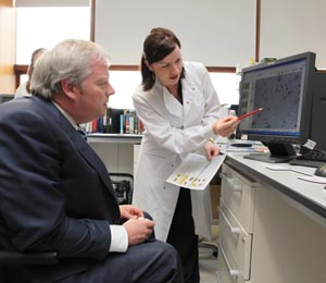 Minister Connick in the lab