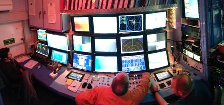 Control screens onboard the RV Celtic Explorer. Image courtesy of Marine Institute & Dr Jens Carlsson, UCD. The Deep-Links expedition is supported by the Marine Institute, funded under the Marine Research Programme 2014-2020 by the Irish Government.