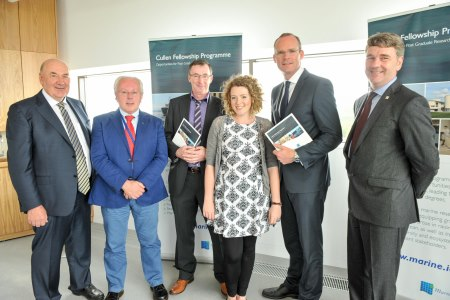 Dr John Killeen, Chairman of The Marine Institute Board, Dr Paul Connolly, FEAS Director, Marine Institute, Cathal and Ruth Cullen, Minister Simon Coveney and Dr Peter Heffernan, CEO Marine Institute.