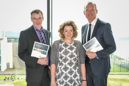 Cathal and Ruth Cullen with Minister Simon Coveney at the Cullen Fellowship Programme launch on July 10th 2015 during SeaFest in Cork