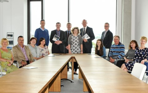 Anne's family and friends, along with Minister Simon Coveney and Dr Peter Heffernan at the Cullen Fellowship launch on the 10th July 2015 during SeaFest in Cork.