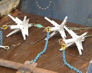 """Picture left: """"Creeps"""" or grappling gear, used to retrieve abandoned nets during the DEEPCLEAN survey."""