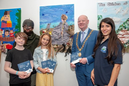 Primary School students Aubrey O'Toole and Sinead Kelleher from Cork's Educate Together who presented a book called 'Our Ocean – Marine Legends, Fairy Tales and Folklore in Ireland' at the Marine Institute's 'Wild Atlantic - What Lies Beneath?' Expo at  SeaFest 2019 in Cork with the Lord Mayor of Cork, Clr. John Sheehan and Shazin Waheed, Explorers Education Programme. Photo: Brian Lougheed.