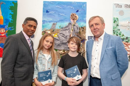 Primary School students Aubrey O'Toole and Sinead Kelleher from Cork's Educate Together who presented a book called 'Our Ocean – Marine Legends, Fairy Tales and Folklore in Ireland' at the Marine Institute's 'Wild Atlantic - What Lies Beneath?' Expo at the SeaFest 2019 in Cork pictured with the President of the Seychelles Danny Faure and Minister Michael Creed TD, Minister for Agriculture, Food and the Marine. Photo: Brian Lougheed.