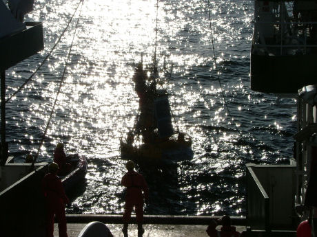 Marine Data Buoy M6 being launched off the west coast of Ireland earlier this week