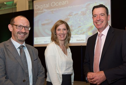 John Breslin, SmartBay, Elena Martines, Science Foundation Ireland  and Declan Meally, SEAI  in Galway. The SmartBay Subsea Observatory is a key element in Ireland's marine infrastructure, feeding live data from seabed to accelerate business and research opportunities and capabilities. Photo:Andrew Downes, xposure