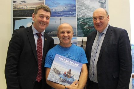 Award winning photographer Doug Allan speaks about his film adventures from the Artic to the Antartica at the Marine Institute. LtoR Dr Peter Heffernan CEO, Doug Allan and Marine Institute Chairman Dr John Killeen. Photographer Cushla Dromgool-Regan
